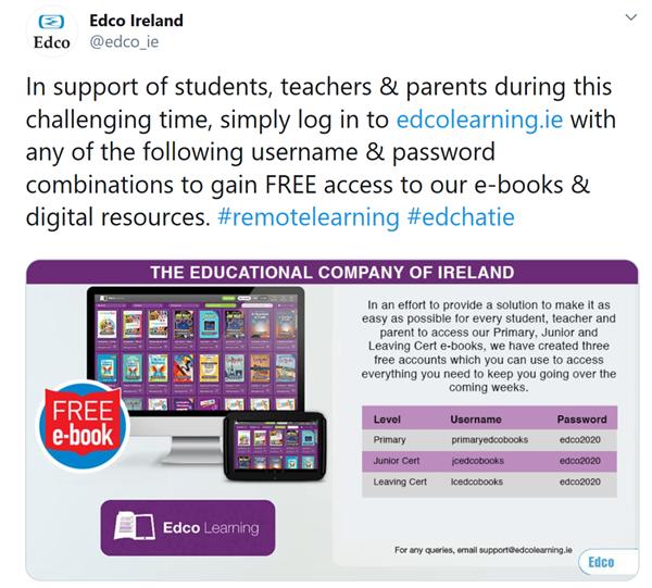 Free Edco and Folens e-book access
